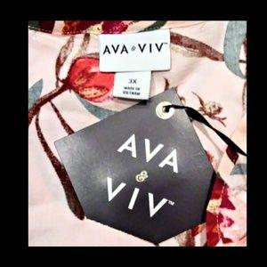 Ava & Viv Tops - Ava & Viv Peach Floral Top Size 3X NWT'S